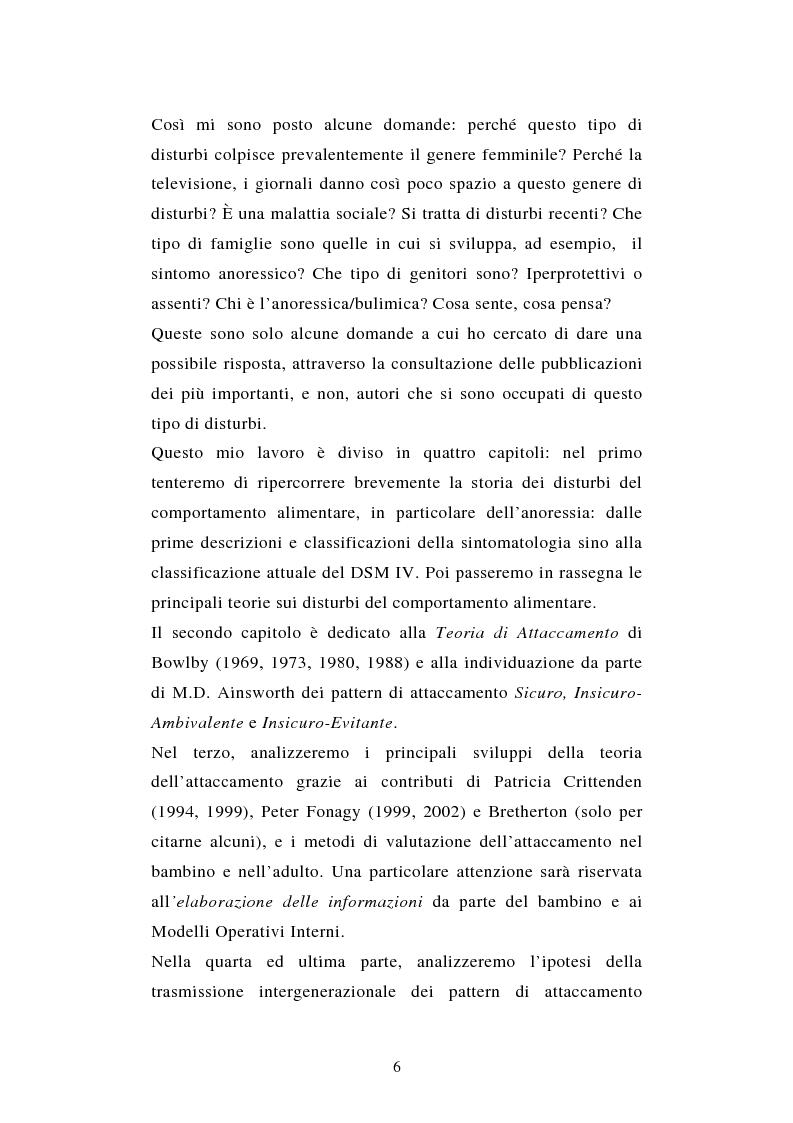 Anteprima della tesi: Pattern di attaccamento e disturbi del comportamento alimentare, Pagina 2