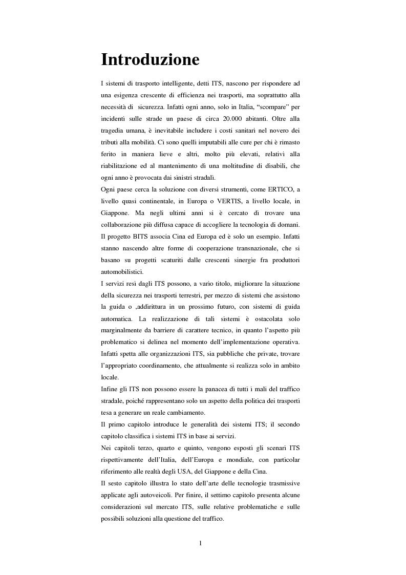 Anteprima della tesi: Sistemi di trasporto intelligenti: tecnologie trasmissive e servizi disponibili, Pagina 1