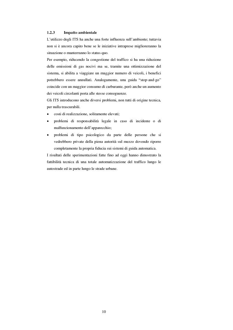 Anteprima della tesi: Sistemi di trasporto intelligenti: tecnologie trasmissive e servizi disponibili, Pagina 10