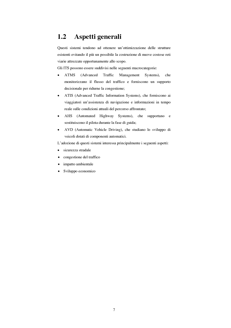 Anteprima della tesi: Sistemi di trasporto intelligenti: tecnologie trasmissive e servizi disponibili, Pagina 7
