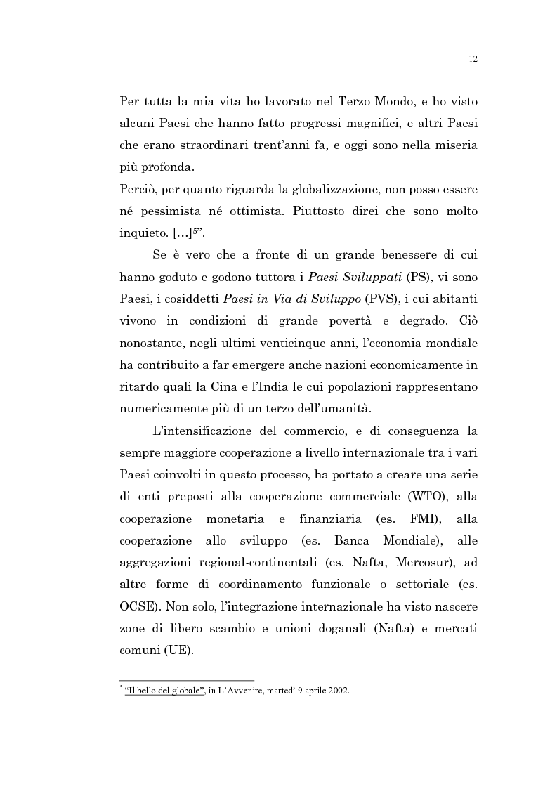 Anteprima della tesi: L'intervento pubblico nazionale e sovranazionale e la globalizzazione: per lo sviluppo e la lotta alla povertà, Pagina 7