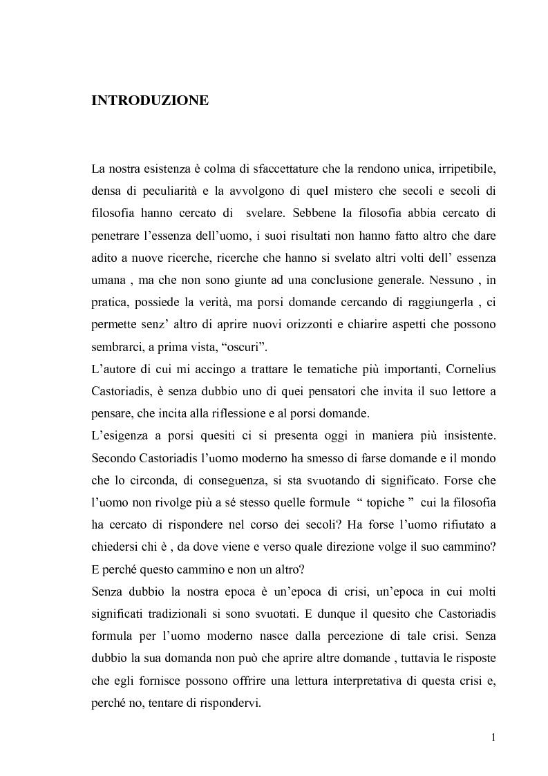 Anteprima della tesi: Cornelius Castoriadis ed il progetto dell'autonomia nell'epoca della globalizzazione, Pagina 1