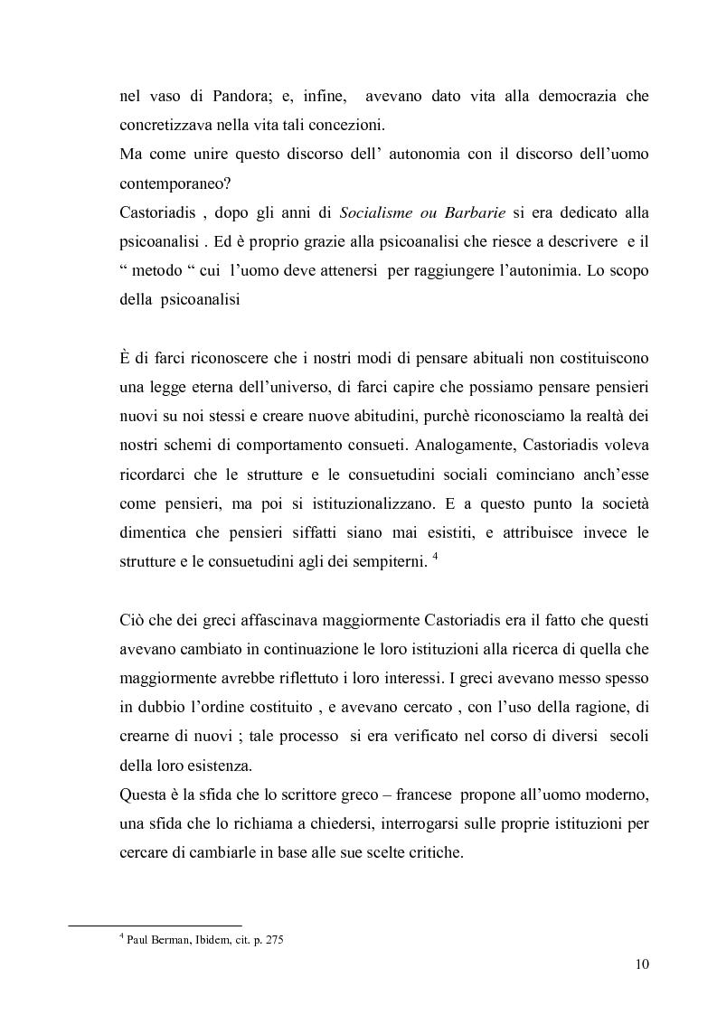 Anteprima della tesi: Cornelius Castoriadis ed il progetto dell'autonomia nell'epoca della globalizzazione, Pagina 10
