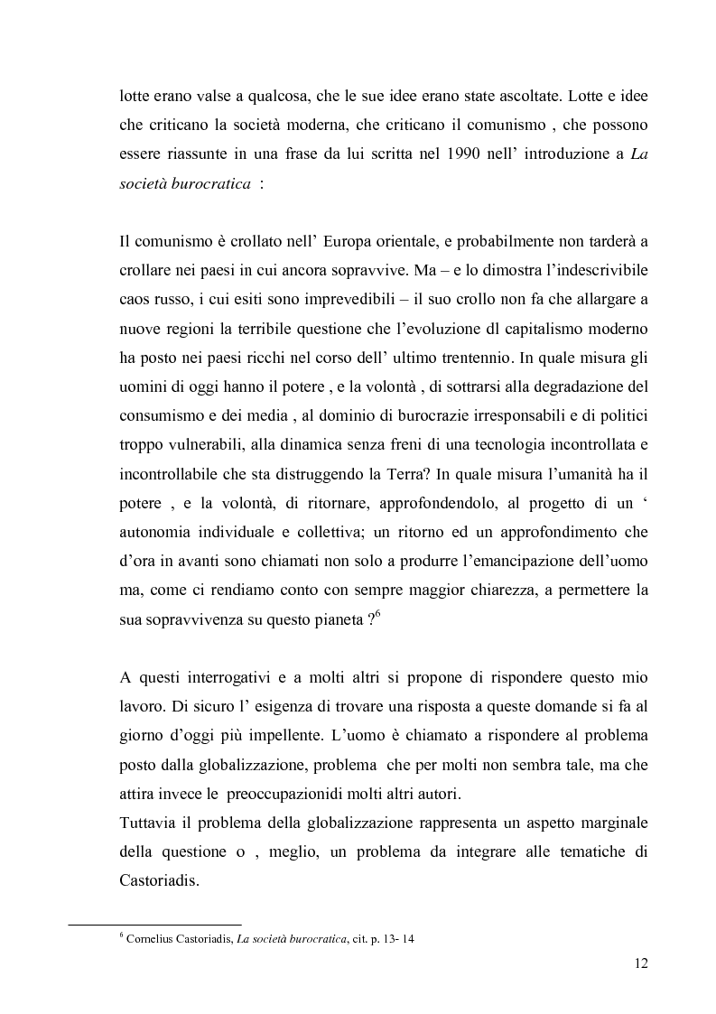 Anteprima della tesi: Cornelius Castoriadis ed il progetto dell'autonomia nell'epoca della globalizzazione, Pagina 12