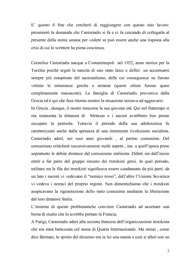 Anteprima della tesi: Cornelius Castoriadis ed il progetto dell'autonomia nell'epoca della globalizzazione, Pagina 2