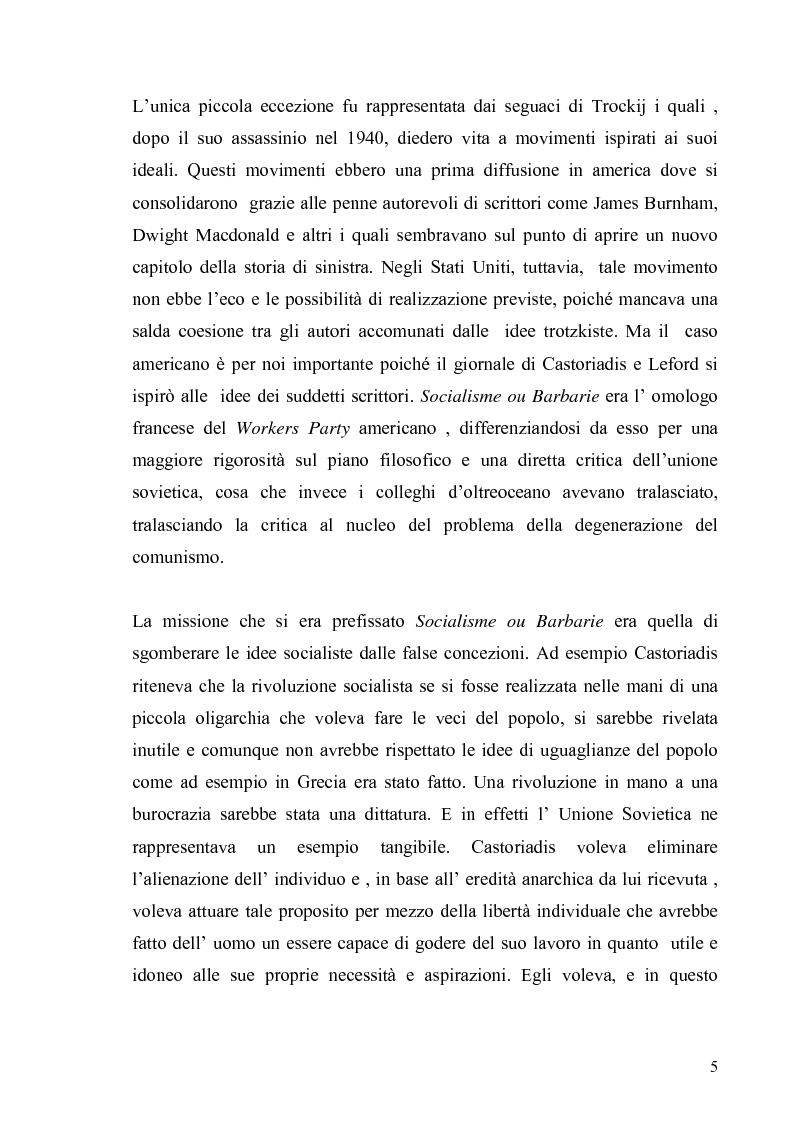 Anteprima della tesi: Cornelius Castoriadis ed il progetto dell'autonomia nell'epoca della globalizzazione, Pagina 5