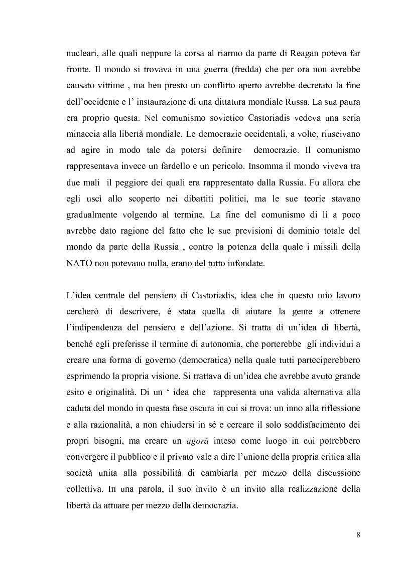 Anteprima della tesi: Cornelius Castoriadis ed il progetto dell'autonomia nell'epoca della globalizzazione, Pagina 8