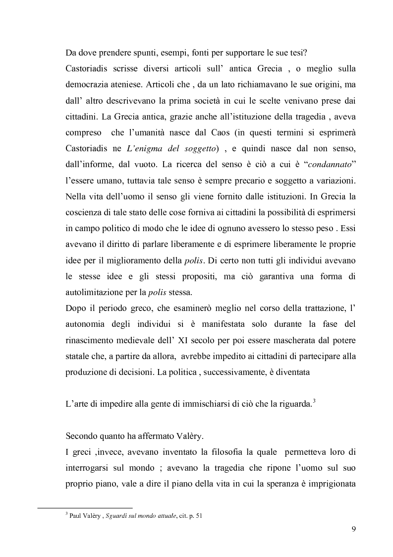 Anteprima della tesi: Cornelius Castoriadis ed il progetto dell'autonomia nell'epoca della globalizzazione, Pagina 9