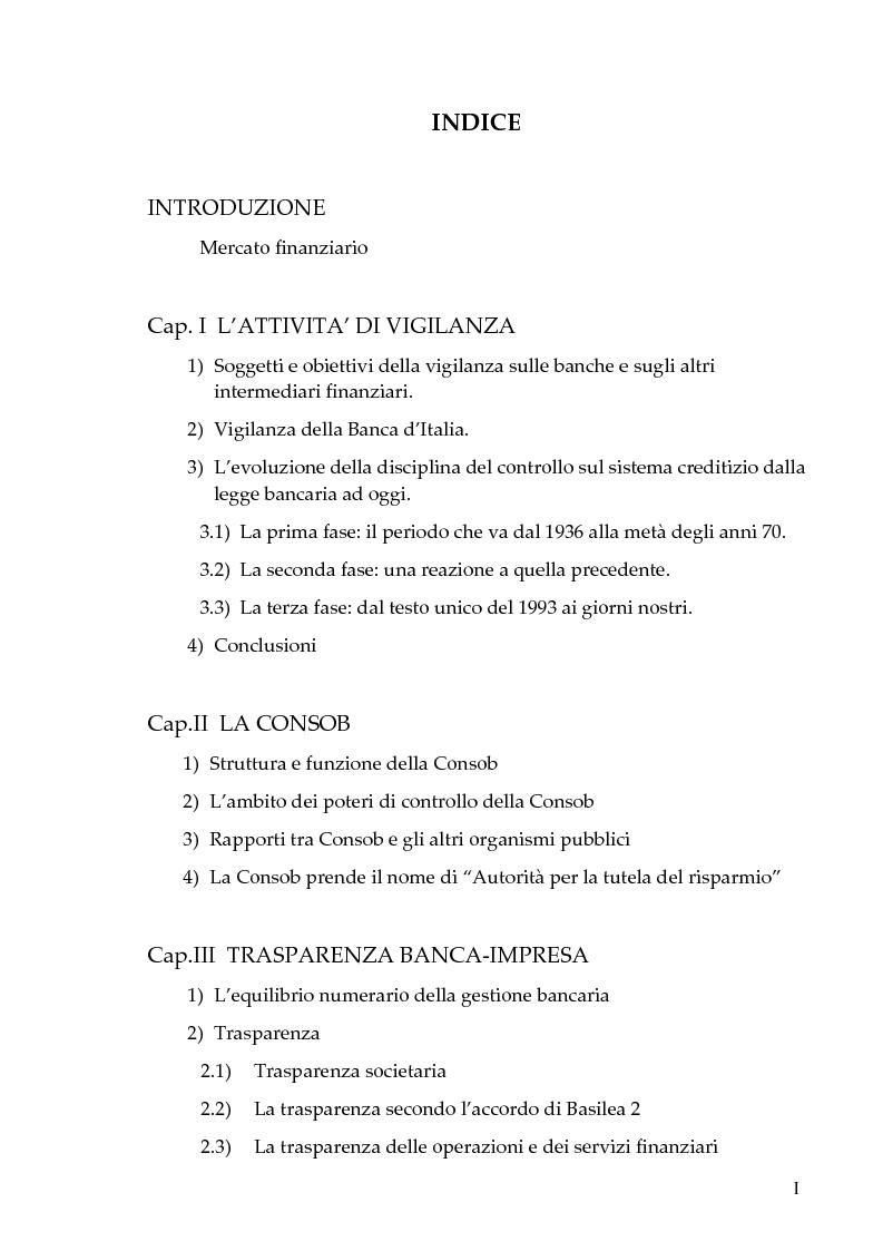 Indice della tesi: Il nuovo sistema dei controlli nel sistema finanziario, Pagina 1