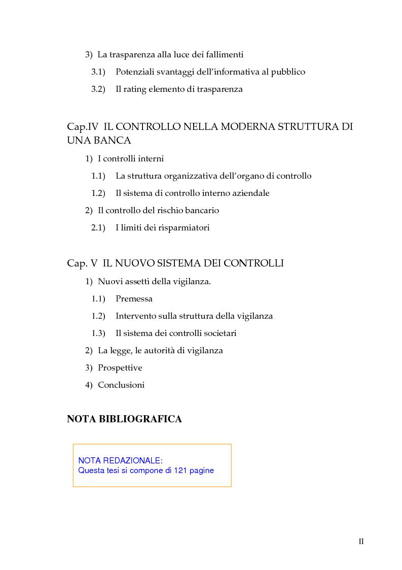 Indice della tesi: Il nuovo sistema dei controlli nel sistema finanziario, Pagina 2
