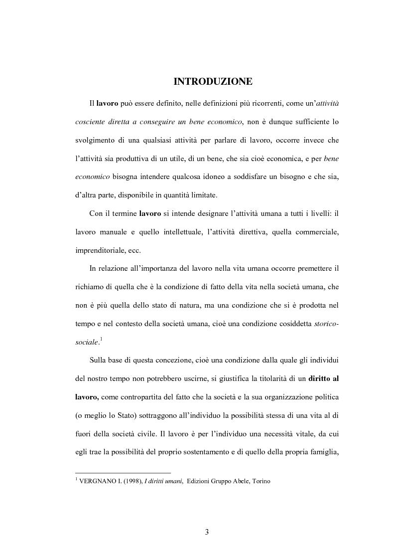 Anteprima della tesi: Il diritto al lavoro: dalla tutela nazionale a quella comunitaria ed internazionale, Pagina 1