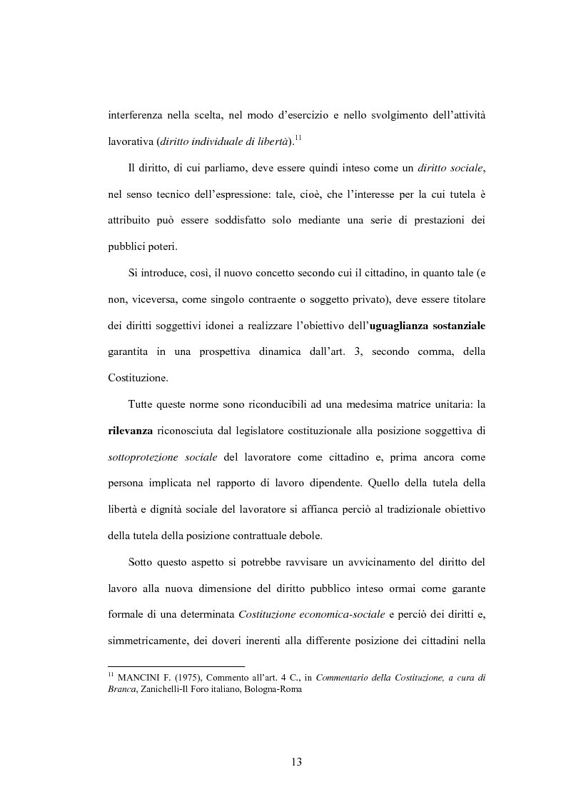 Anteprima della tesi: Il diritto al lavoro: dalla tutela nazionale a quella comunitaria ed internazionale, Pagina 11