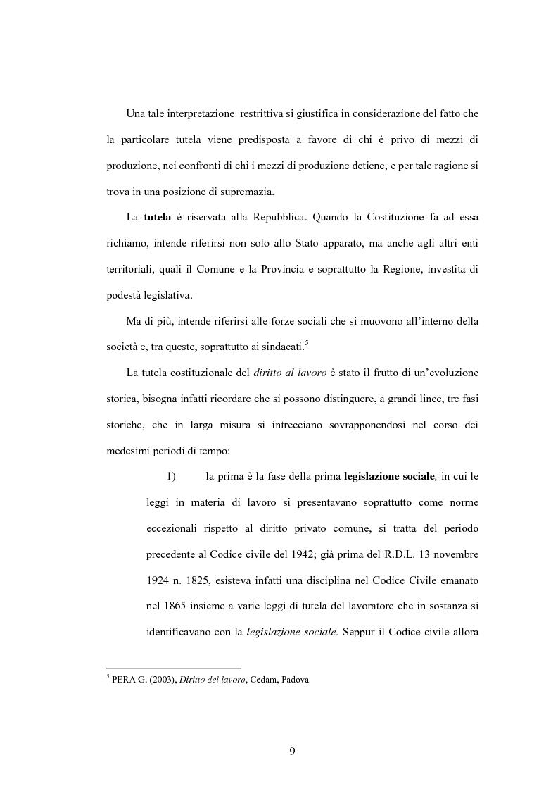 Anteprima della tesi: Il diritto al lavoro: dalla tutela nazionale a quella comunitaria ed internazionale, Pagina 7