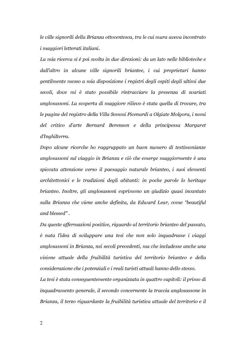 Anteprima della tesi: Viaggio e paesaggio in Brianza: i turisti di oggi e la traccia anglosassone, Pagina 2