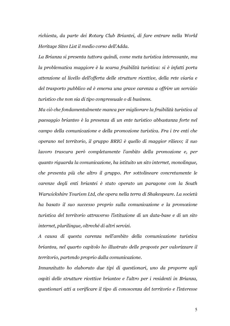 Anteprima della tesi: Viaggio e paesaggio in Brianza: i turisti di oggi e la traccia anglosassone, Pagina 5