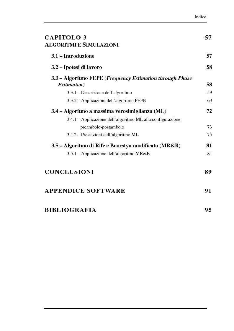 Indice della tesi: Algoritmi a risoluzione incrementata per la stima della frequenza di una portante, Pagina 3