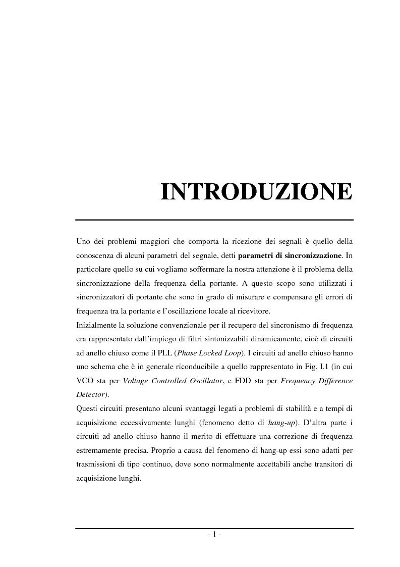 Anteprima della tesi: Algoritmi a risoluzione incrementata per la stima della frequenza di una portante, Pagina 1