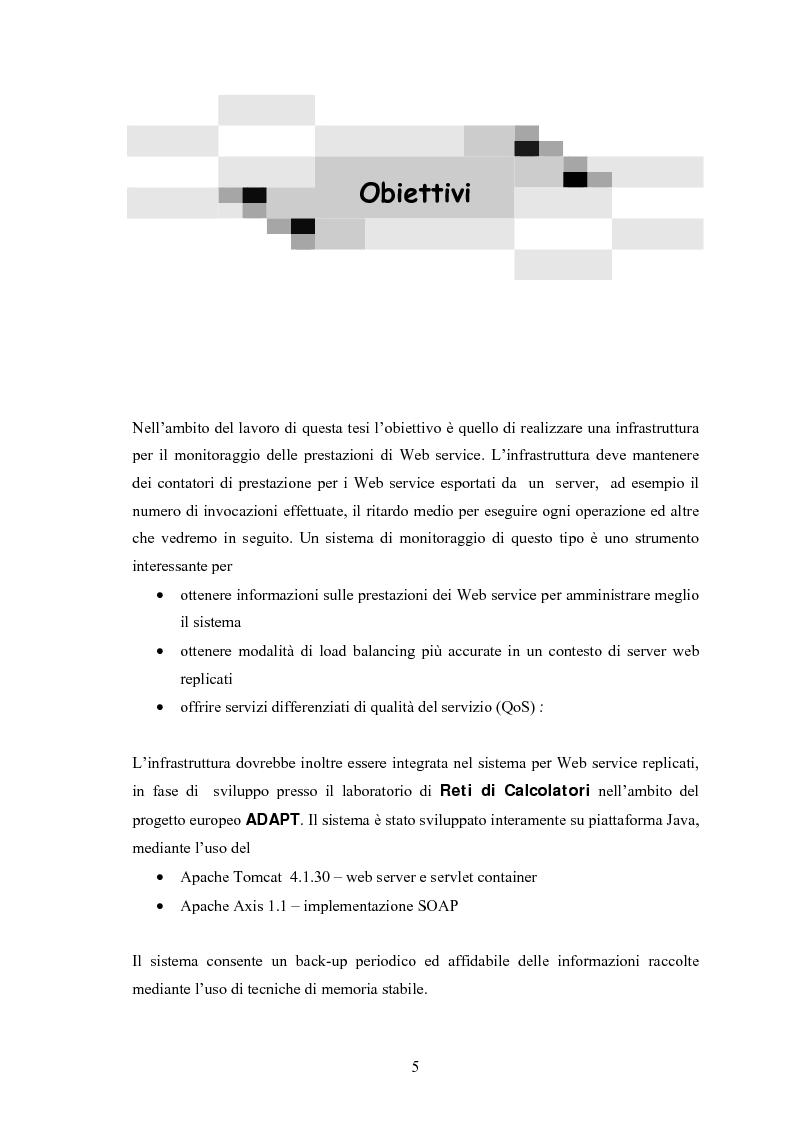 Anteprima della tesi: Progetto e realizzazione di un sistema per il monitoraggio dinamico delle prestazioni in un server replicato basato su Web service, Pagina 3