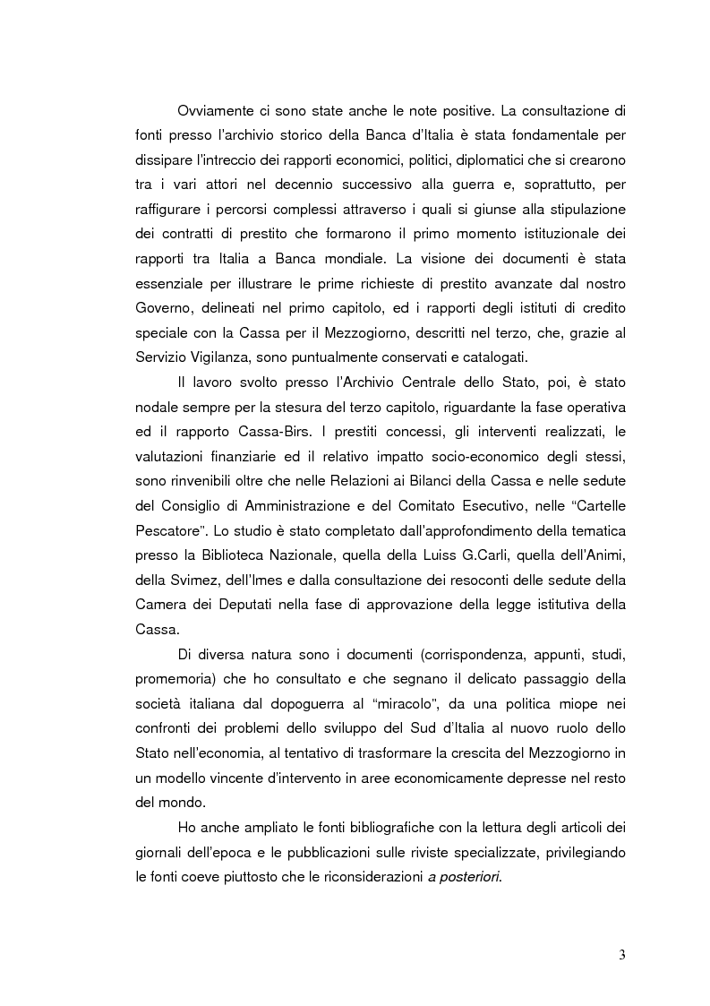 Anteprima della tesi: La Banca Internazionale per la Ricostruzione e lo Sviluppo nella storia dell'intervento straordinario per il Mezzogiorno (1946-1960), Pagina 3
