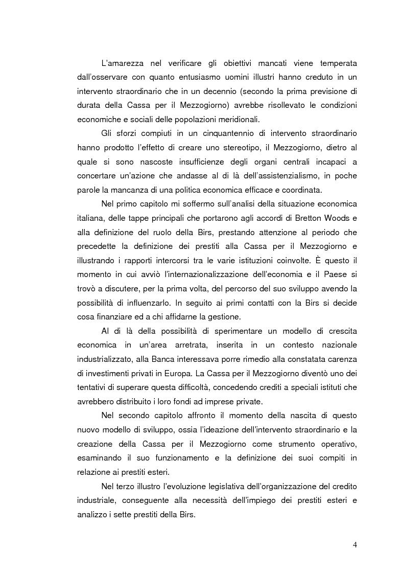 Anteprima della tesi: La Banca Internazionale per la Ricostruzione e lo Sviluppo nella storia dell'intervento straordinario per il Mezzogiorno (1946-1960), Pagina 4