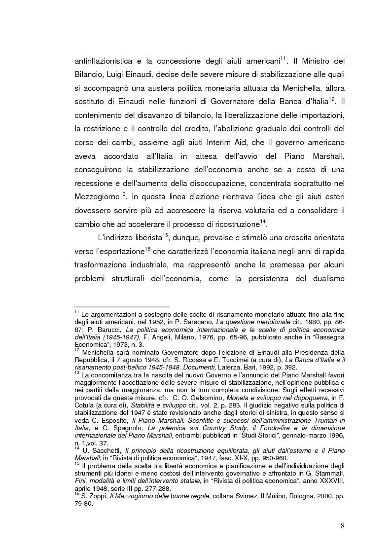 Anteprima della tesi: La Banca Internazionale per la Ricostruzione e lo Sviluppo nella storia dell'intervento straordinario per il Mezzogiorno (1946-1960), Pagina 8