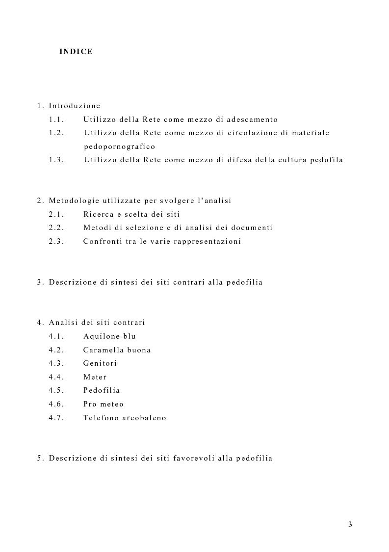 Indice della tesi: Costruzione di un'emergenza in rete: siti web e pedofilia, Pagina 1
