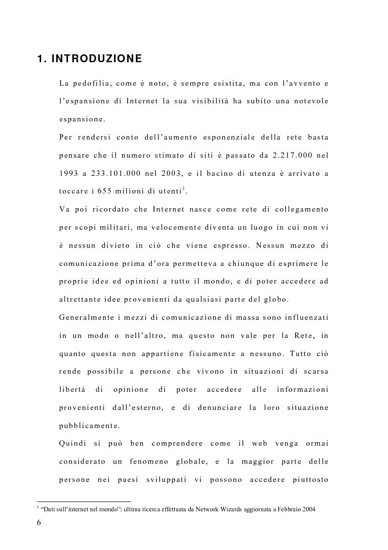 Anteprima della tesi: Costruzione di un'emergenza in rete: siti web e pedofilia, Pagina 1