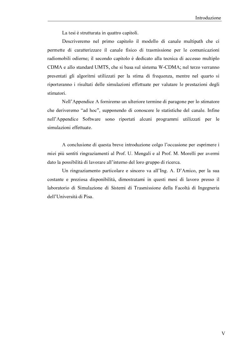 Anteprima della tesi: Stima di frequenza in canali tempo varianti per sistemi W-CDMA con codici lunghi, Pagina 3