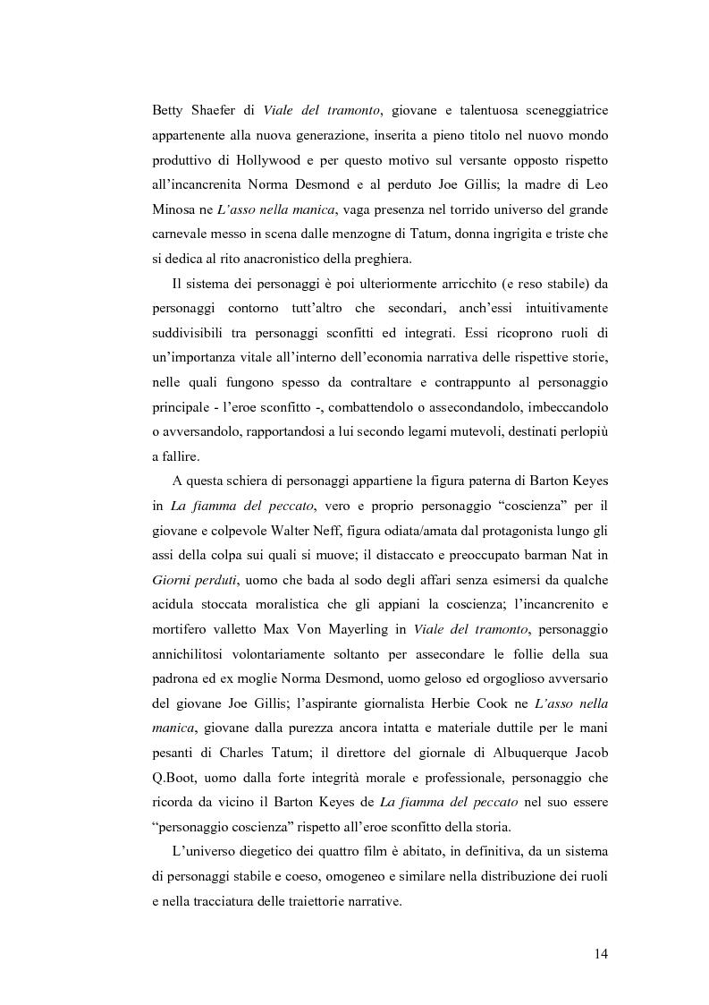 Anteprima della tesi: La tetralogia degli sconfitti: Billy Wilder e la società americana. ''La fiamma del peccato'', ''Giorni perduti'', ''Viale del tramonto'' e ''L'asso nella manica'', Pagina 12