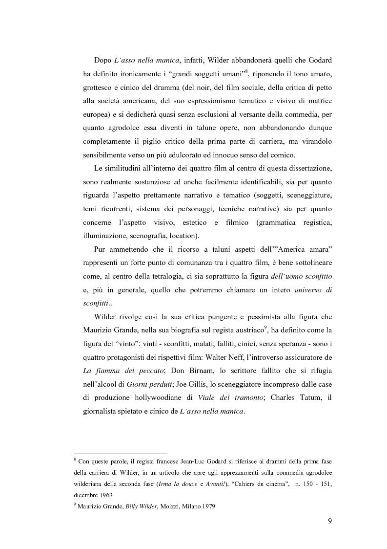Anteprima della tesi: La tetralogia degli sconfitti: Billy Wilder e la società americana. ''La fiamma del peccato'', ''Giorni perduti'', ''Viale del tramonto'' e ''L'asso nella manica'', Pagina 7