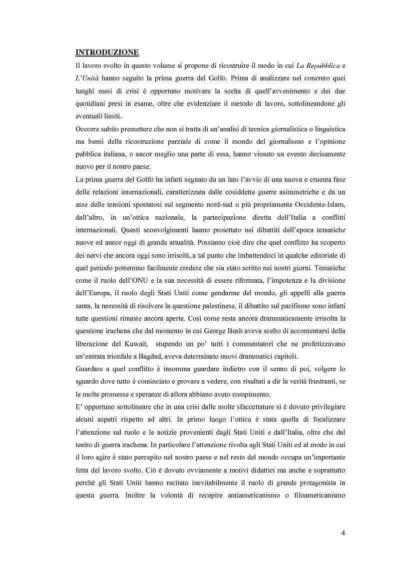 Anteprima della tesi: Politica estera e comunicazione: La prima guerra del golfo secondo ''La Repubblica'' e ''L'Unità'', Pagina 1
