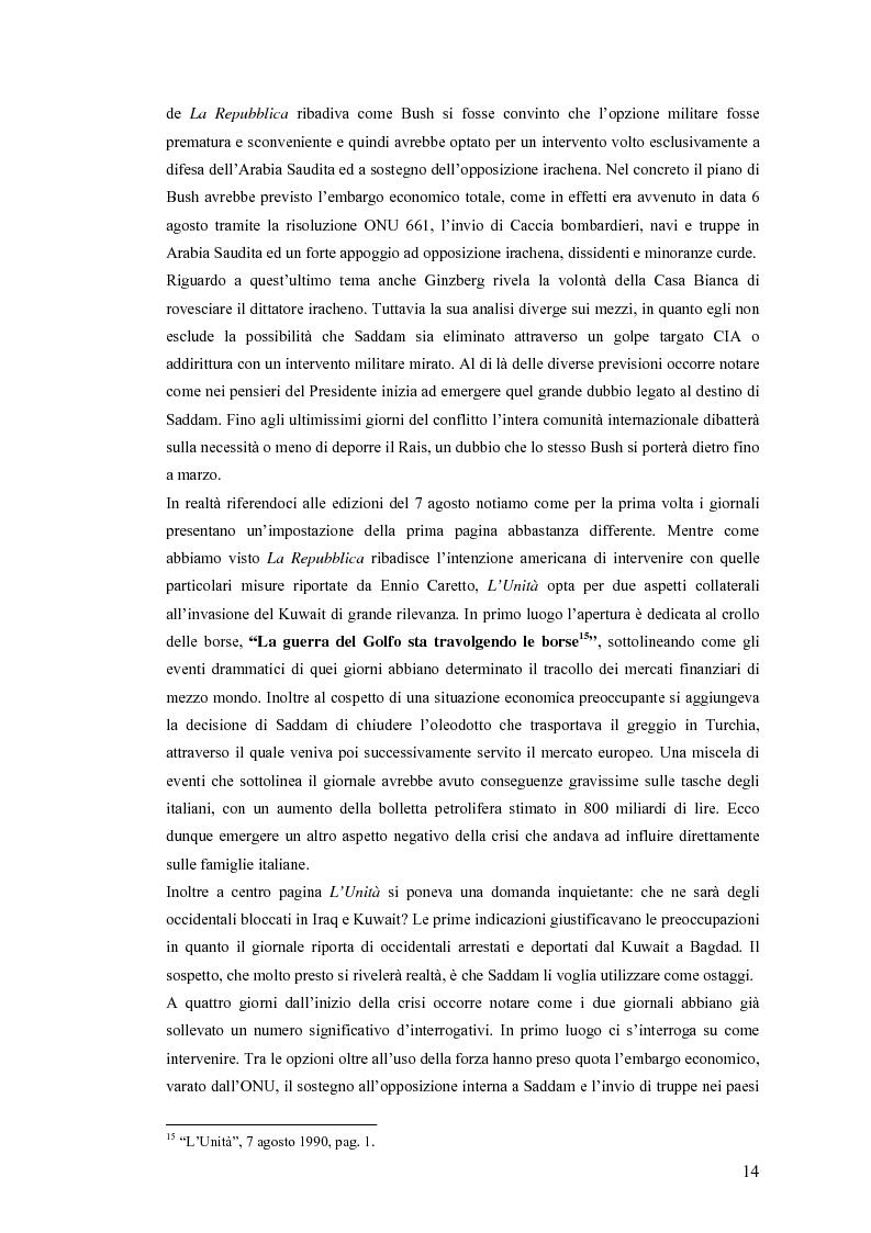 Anteprima della tesi: Politica estera e comunicazione: La prima guerra del golfo secondo ''La Repubblica'' e ''L'Unità'', Pagina 11