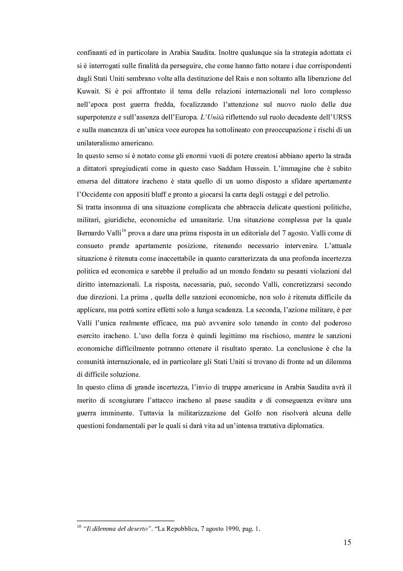 Anteprima della tesi: Politica estera e comunicazione: La prima guerra del golfo secondo ''La Repubblica'' e ''L'Unità'', Pagina 12