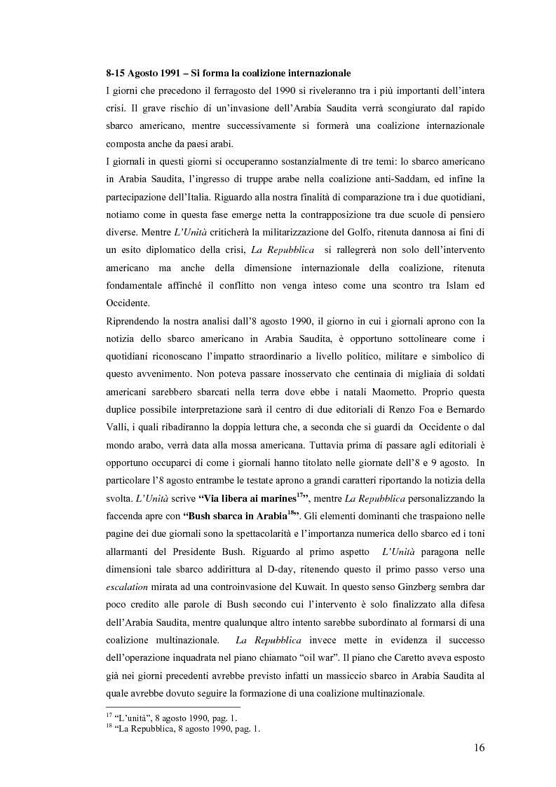 Anteprima della tesi: Politica estera e comunicazione: La prima guerra del golfo secondo ''La Repubblica'' e ''L'Unità'', Pagina 13