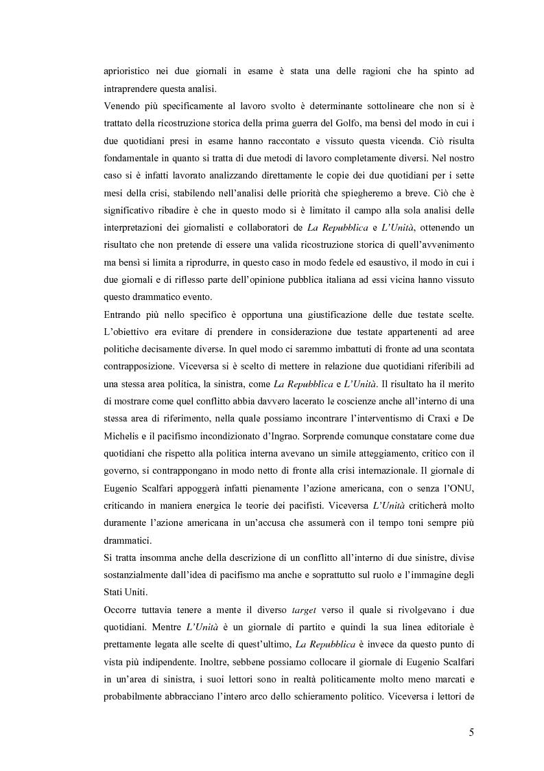 Anteprima della tesi: Politica estera e comunicazione: La prima guerra del golfo secondo ''La Repubblica'' e ''L'Unità'', Pagina 2