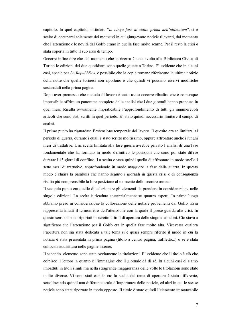 Anteprima della tesi: Politica estera e comunicazione: La prima guerra del golfo secondo ''La Repubblica'' e ''L'Unità'', Pagina 4