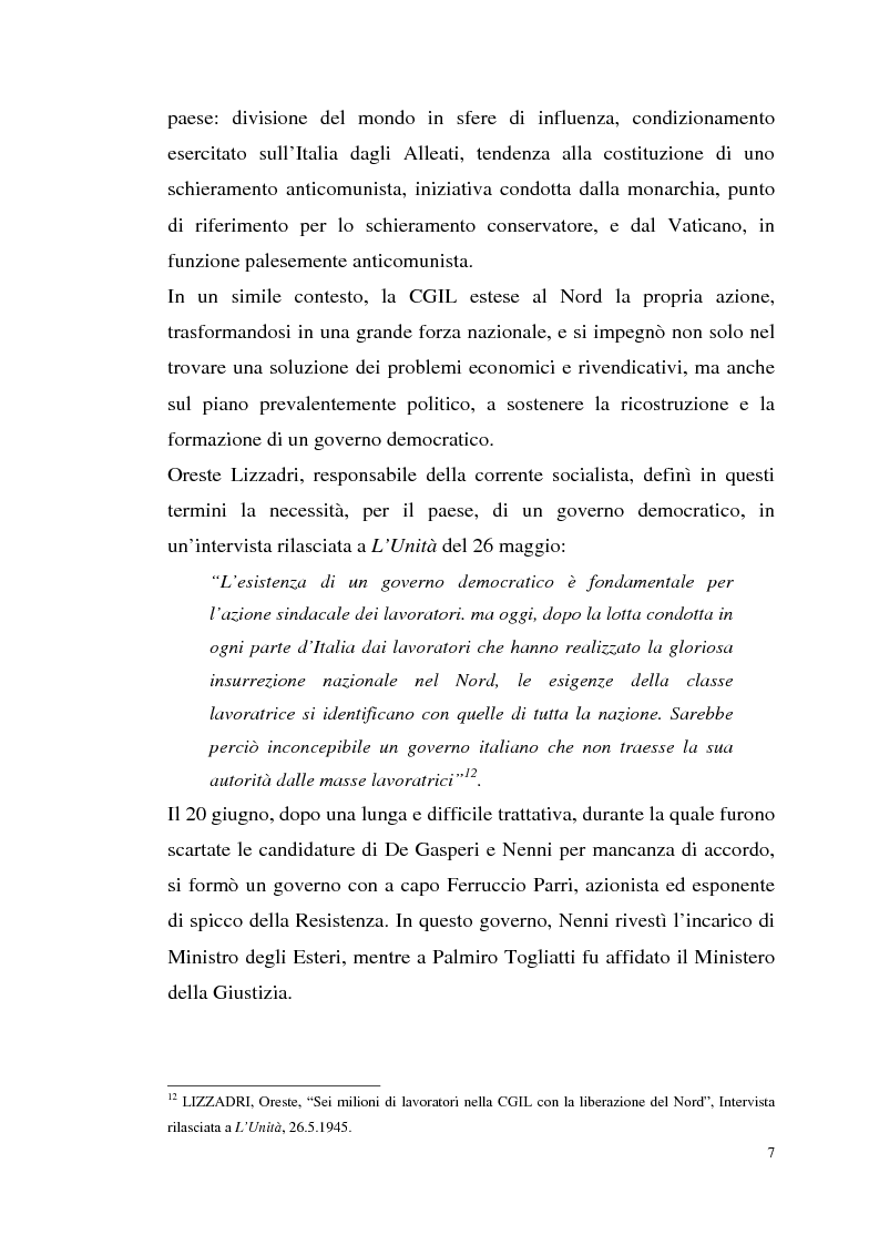Anteprima della tesi: I rapporti tra il P.C.I. e la C.G.I.L. dalla crisi del 1955 alla svolta degli anni '60, Pagina 10