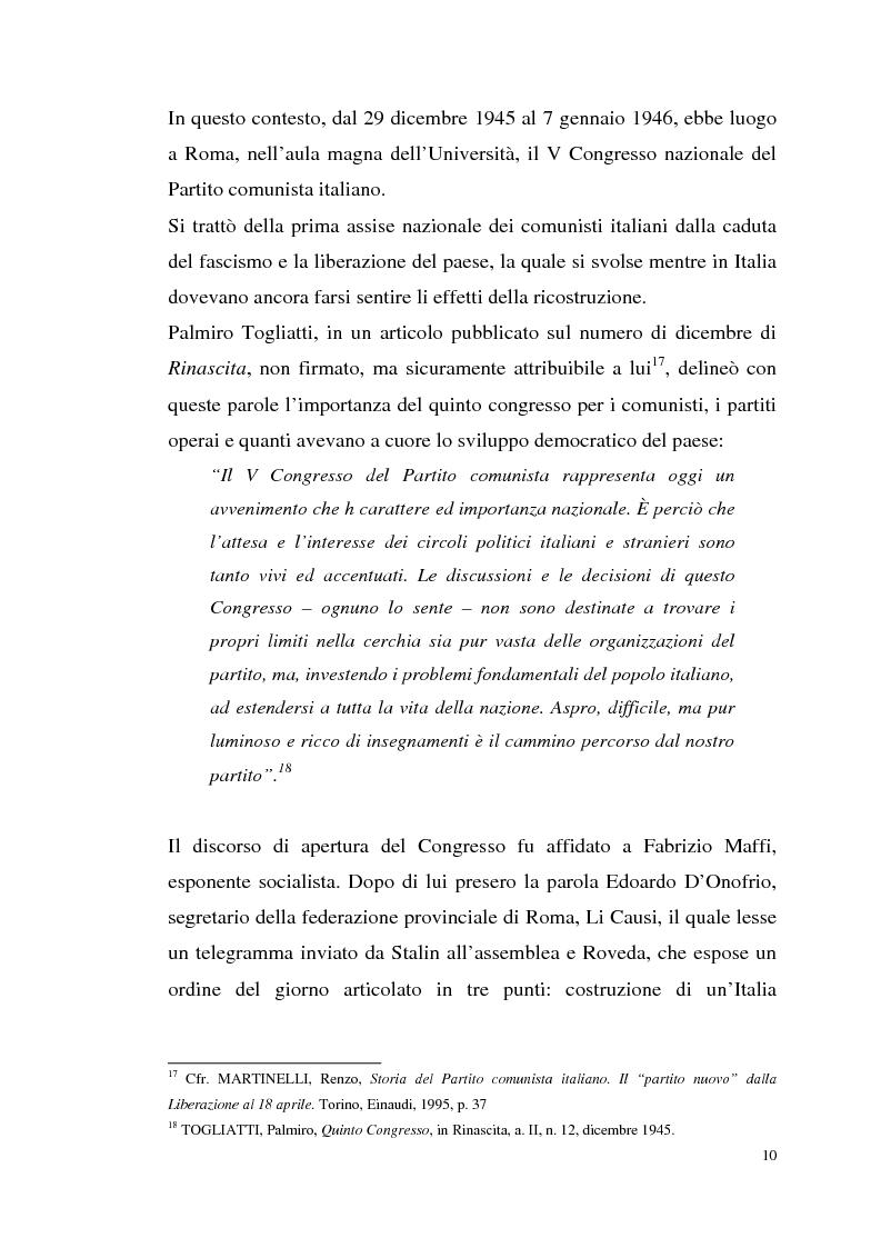 Anteprima della tesi: I rapporti tra il P.C.I. e la C.G.I.L. dalla crisi del 1955 alla svolta degli anni '60, Pagina 13