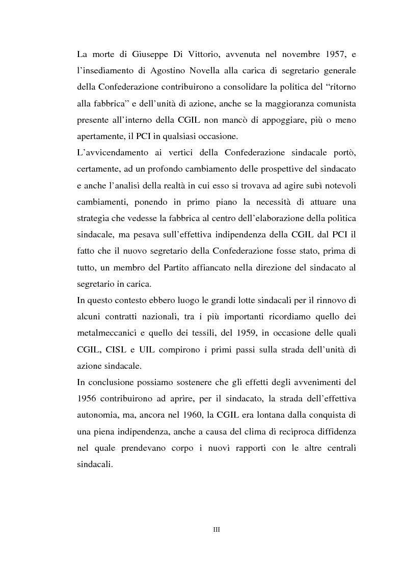 Anteprima della tesi: I rapporti tra il P.C.I. e la C.G.I.L. dalla crisi del 1955 alla svolta degli anni '60, Pagina 3