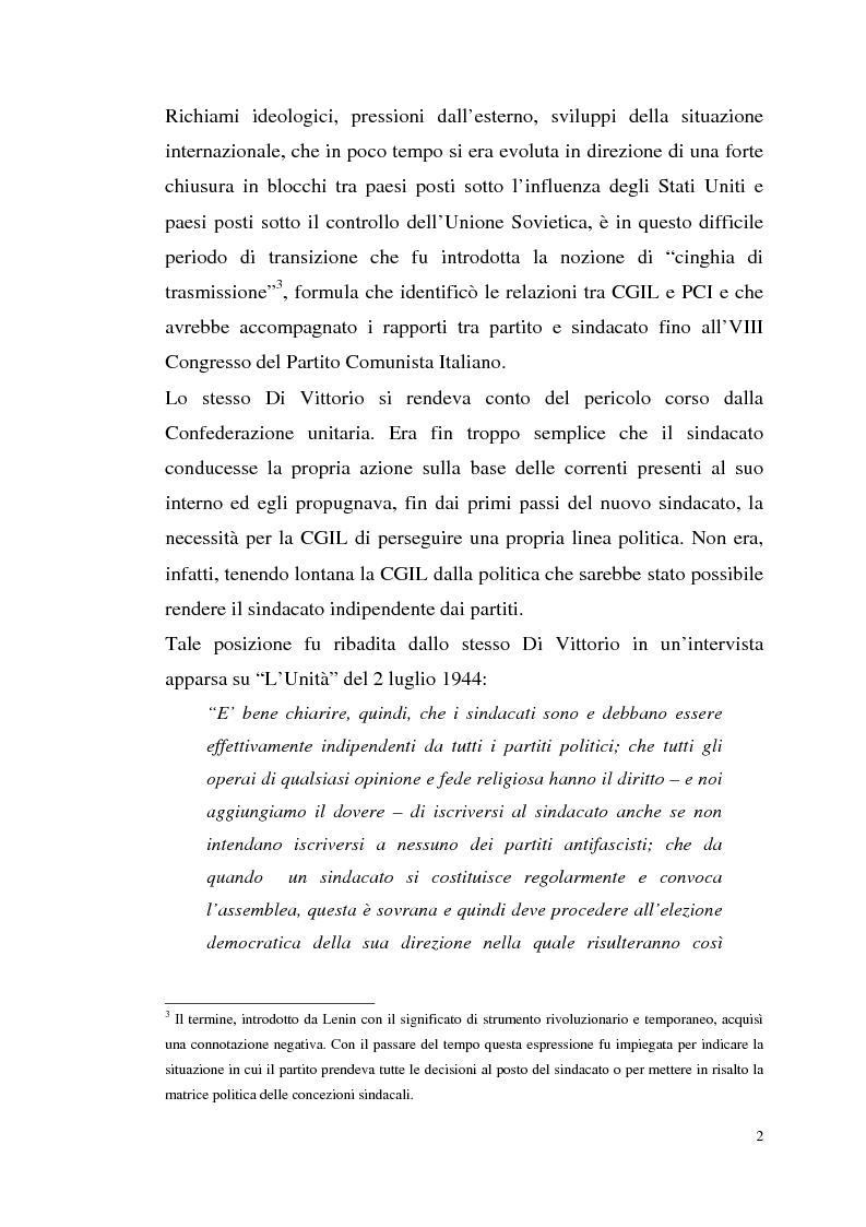 Anteprima della tesi: I rapporti tra il P.C.I. e la C.G.I.L. dalla crisi del 1955 alla svolta degli anni '60, Pagina 5