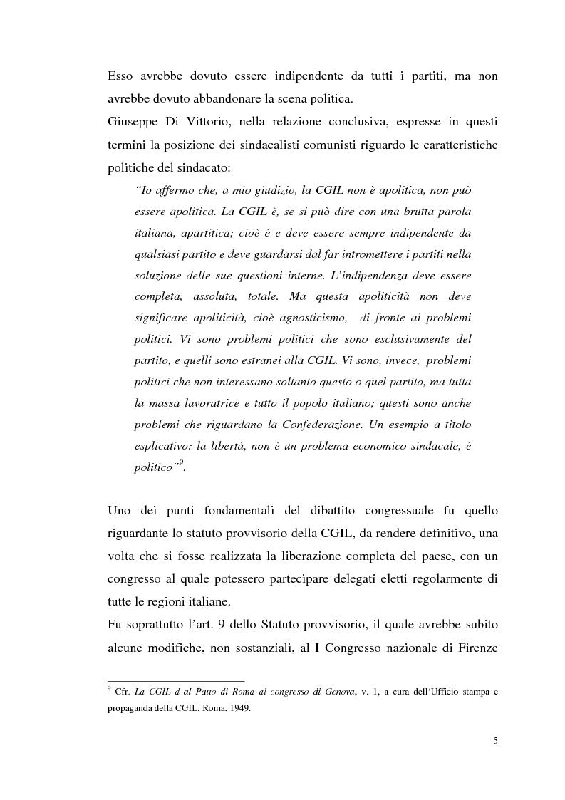 Anteprima della tesi: I rapporti tra il P.C.I. e la C.G.I.L. dalla crisi del 1955 alla svolta degli anni '60, Pagina 8