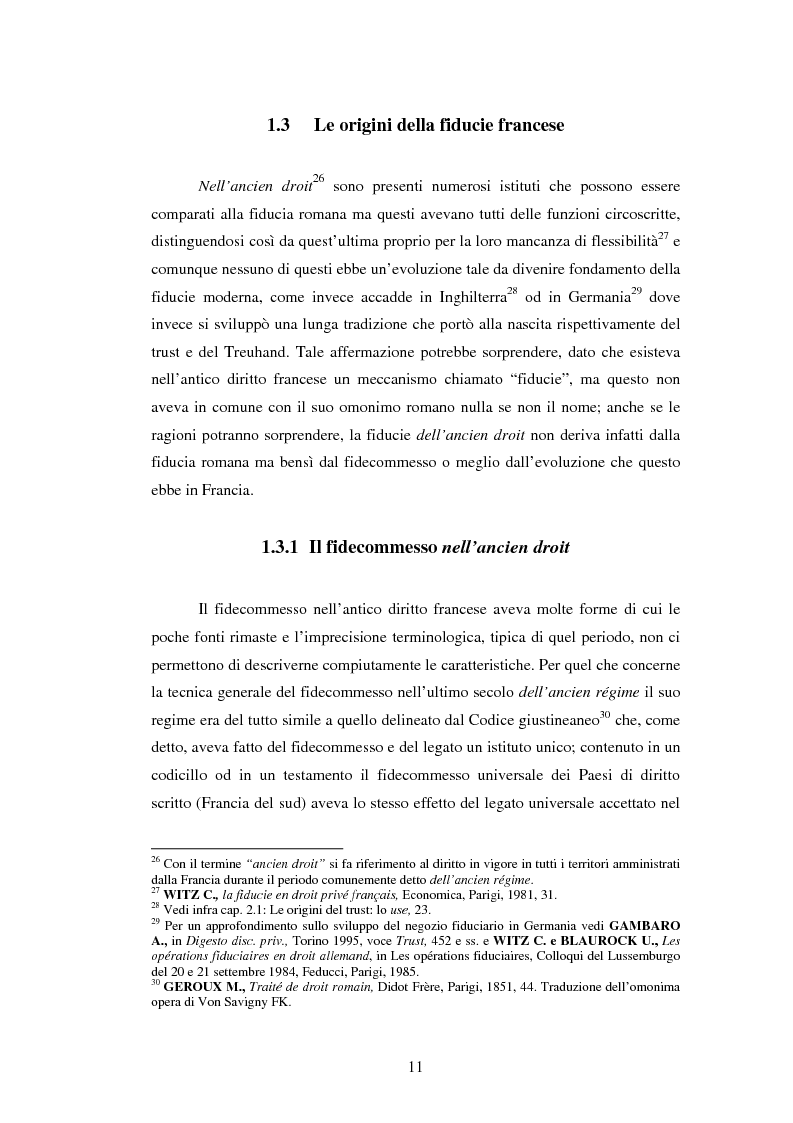 Anteprima della tesi: La Fiducie: un'analisi di diritto comparato, Pagina 11