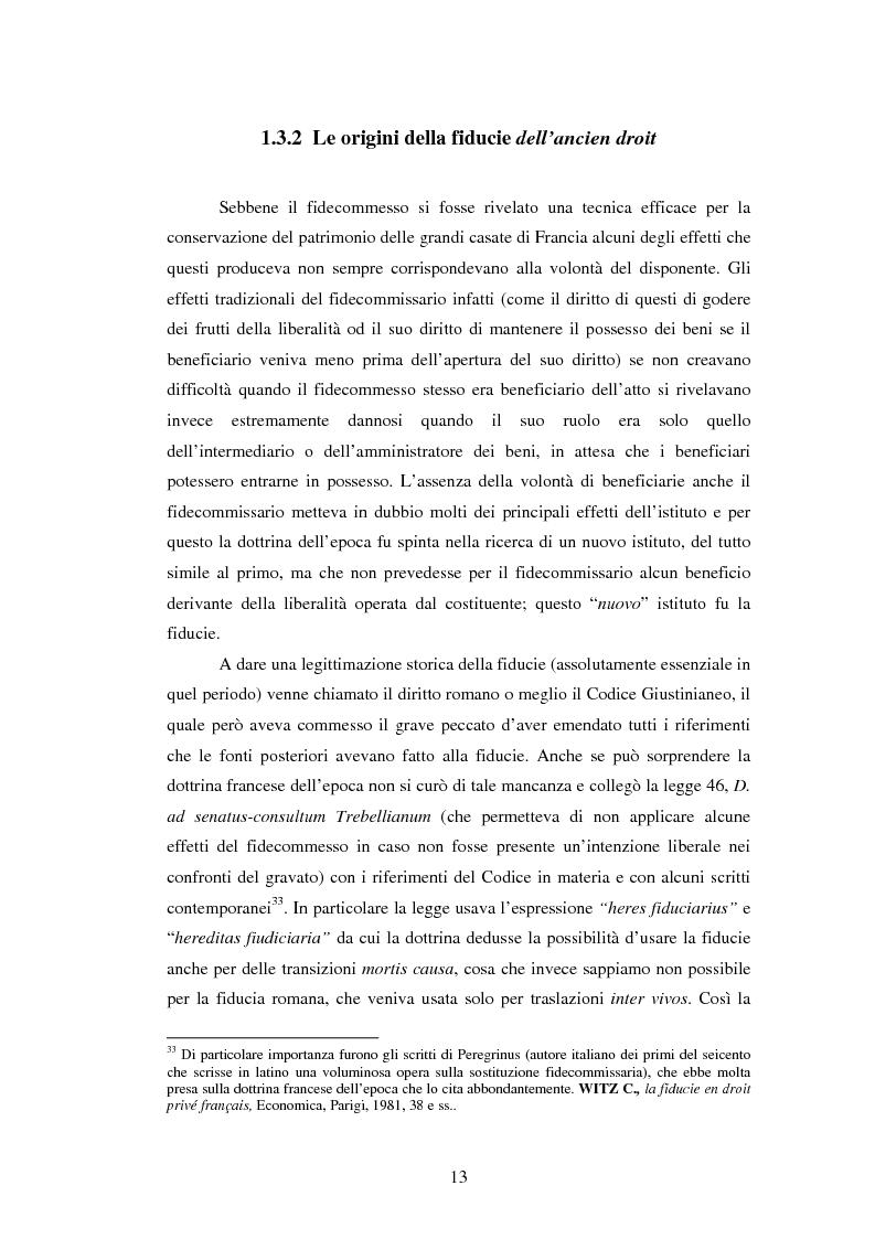 Anteprima della tesi: La Fiducie: un'analisi di diritto comparato, Pagina 13