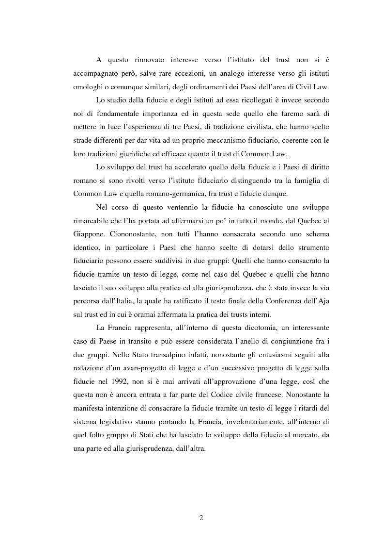 Anteprima della tesi: La Fiducie: un'analisi di diritto comparato, Pagina 2