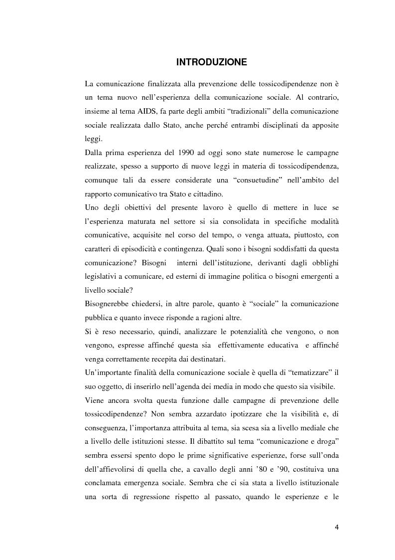 Anteprima della tesi: Le campagne di utilità sociale sulla tossicodipendenza: un contributo di ricerca, Pagina 1