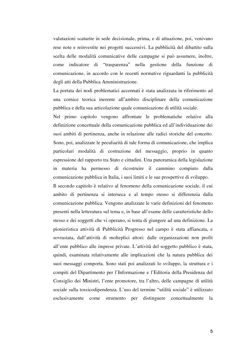 Anteprima della tesi: Le campagne di utilità sociale sulla tossicodipendenza: un contributo di ricerca, Pagina 2