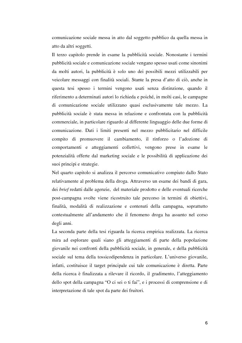 Anteprima della tesi: Le campagne di utilità sociale sulla tossicodipendenza: un contributo di ricerca, Pagina 3