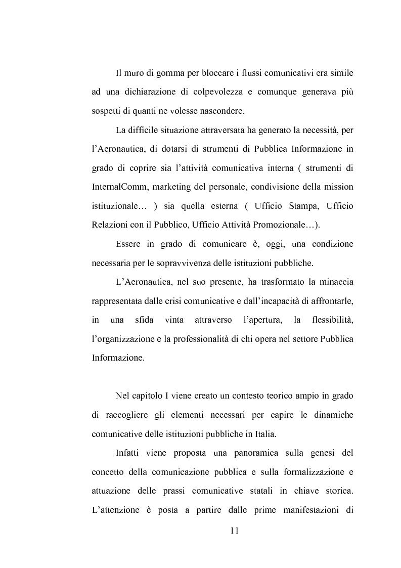 Anteprima della tesi: La comunicazione istituzionale dell'Aeronautica Militare. Uno sguardo dall'alto sulle attività dell'Ufficio Stampa della A. M., Pagina 5