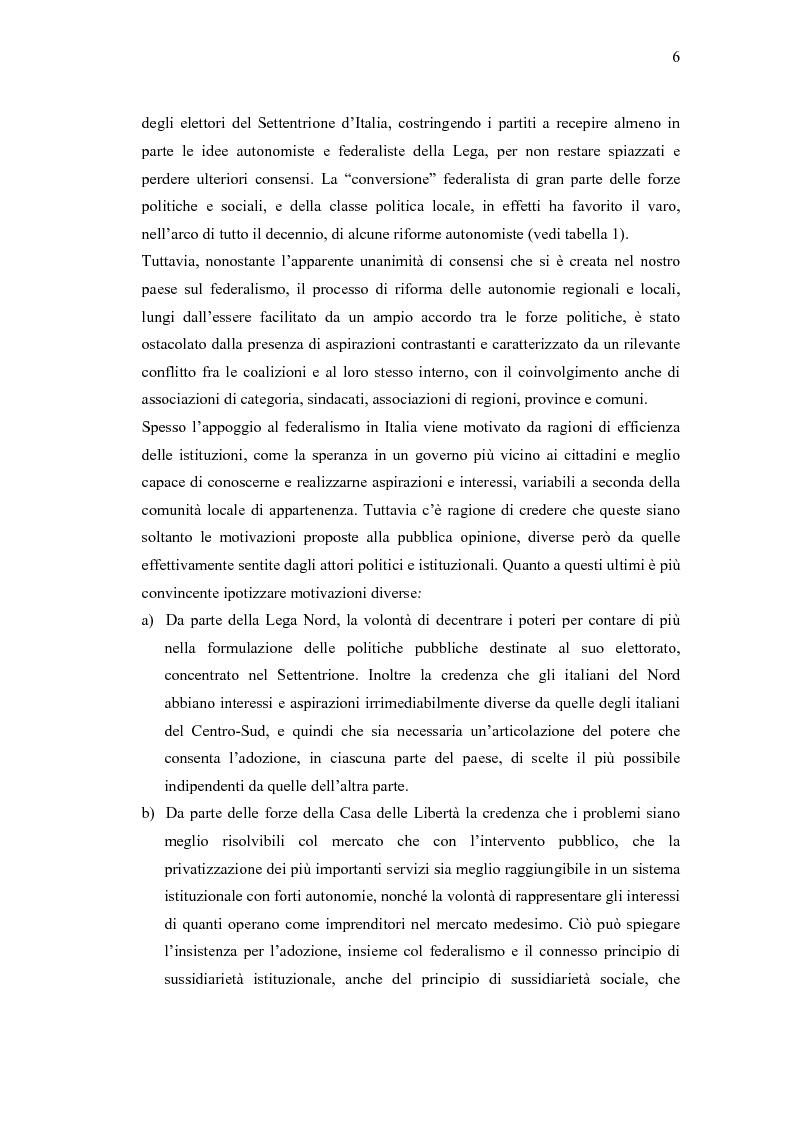 Anteprima della tesi: Verso un'Italia federale. Dalla Riforma del Titolo V al disegno di legge sulla devoluzione., Pagina 3