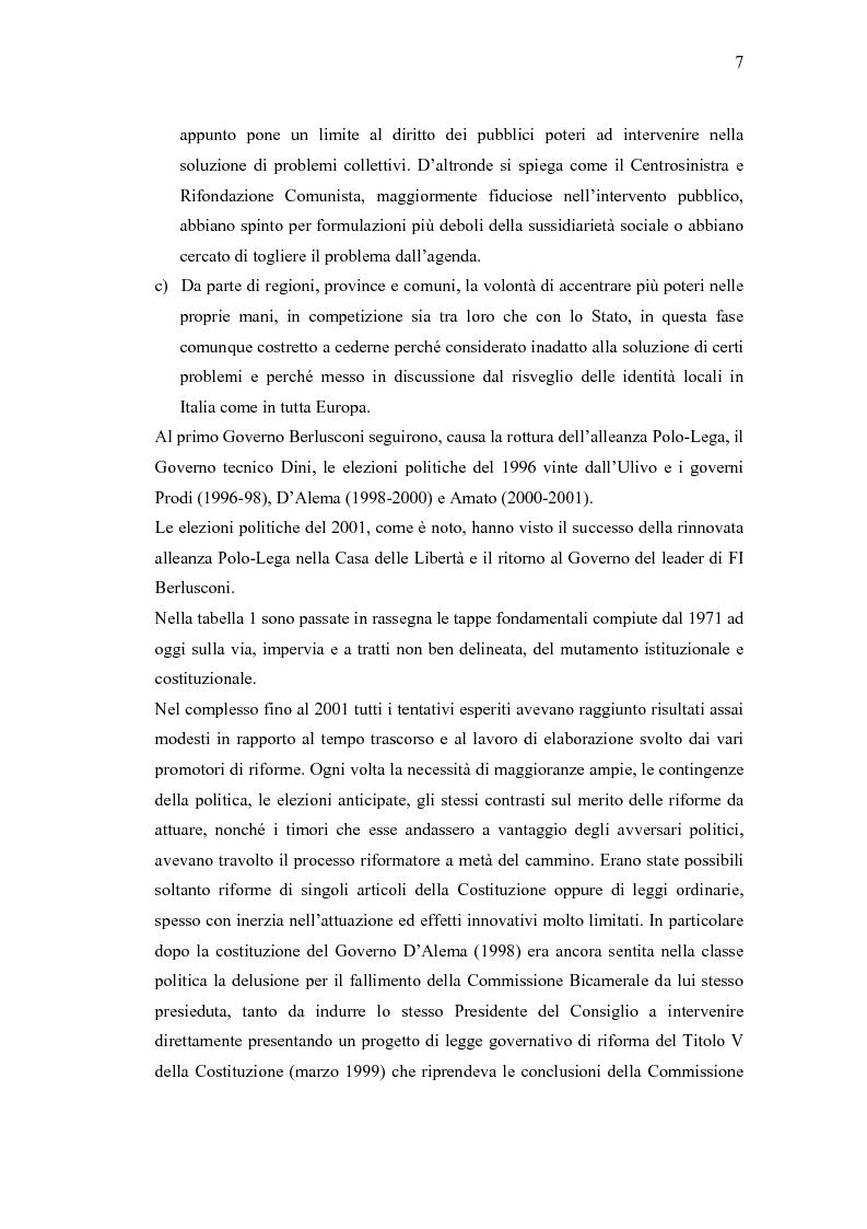 Anteprima della tesi: Verso un'Italia federale. Dalla Riforma del Titolo V al disegno di legge sulla devoluzione., Pagina 4